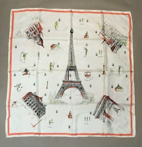 Vintage AscotOpera Scarf with  PARIS FRANCE  Famous Landmarks