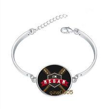 Venir au christ verre cabochon Tibet Silver Bangle Bracelets Wholesale