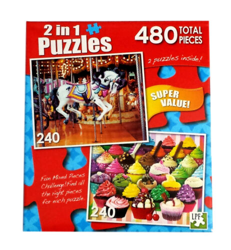 """Carousel Cupcakes 2 in 1 Jigsaw Puzzle 480 Pieces 2 11.25/""""X9/"""" 240 Piece Puzzles"""