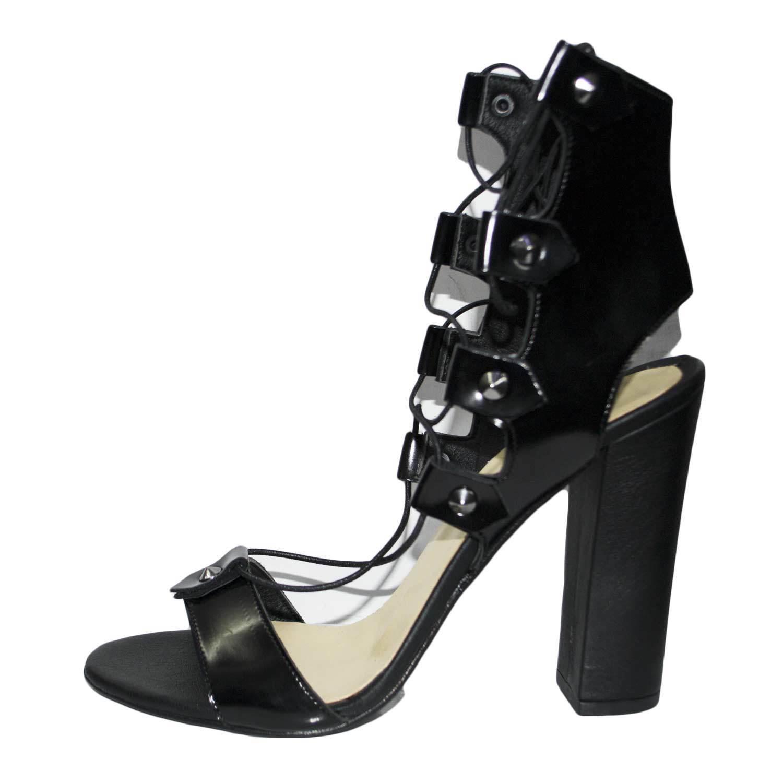 Sandale tacco doppio nero art.st9098 made in italy accessori borchie stringhe la