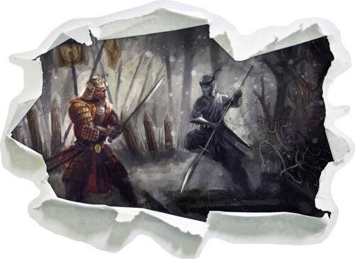 3d-Look papier mural autocollant-sticker Lutte entre samouraï et Ninja