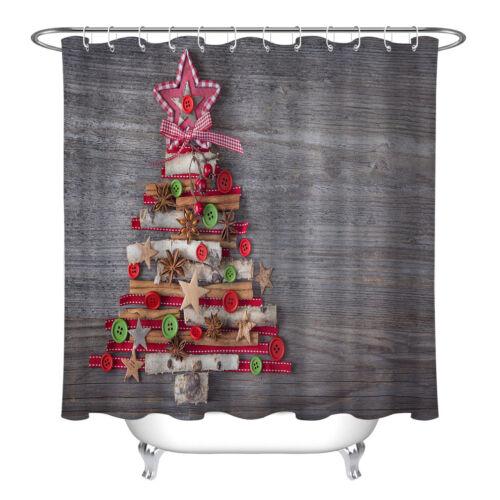 Bathroom Decor Waterproof Fabric XMAS Tree Wooden Board Shower Curtain Set Hooks