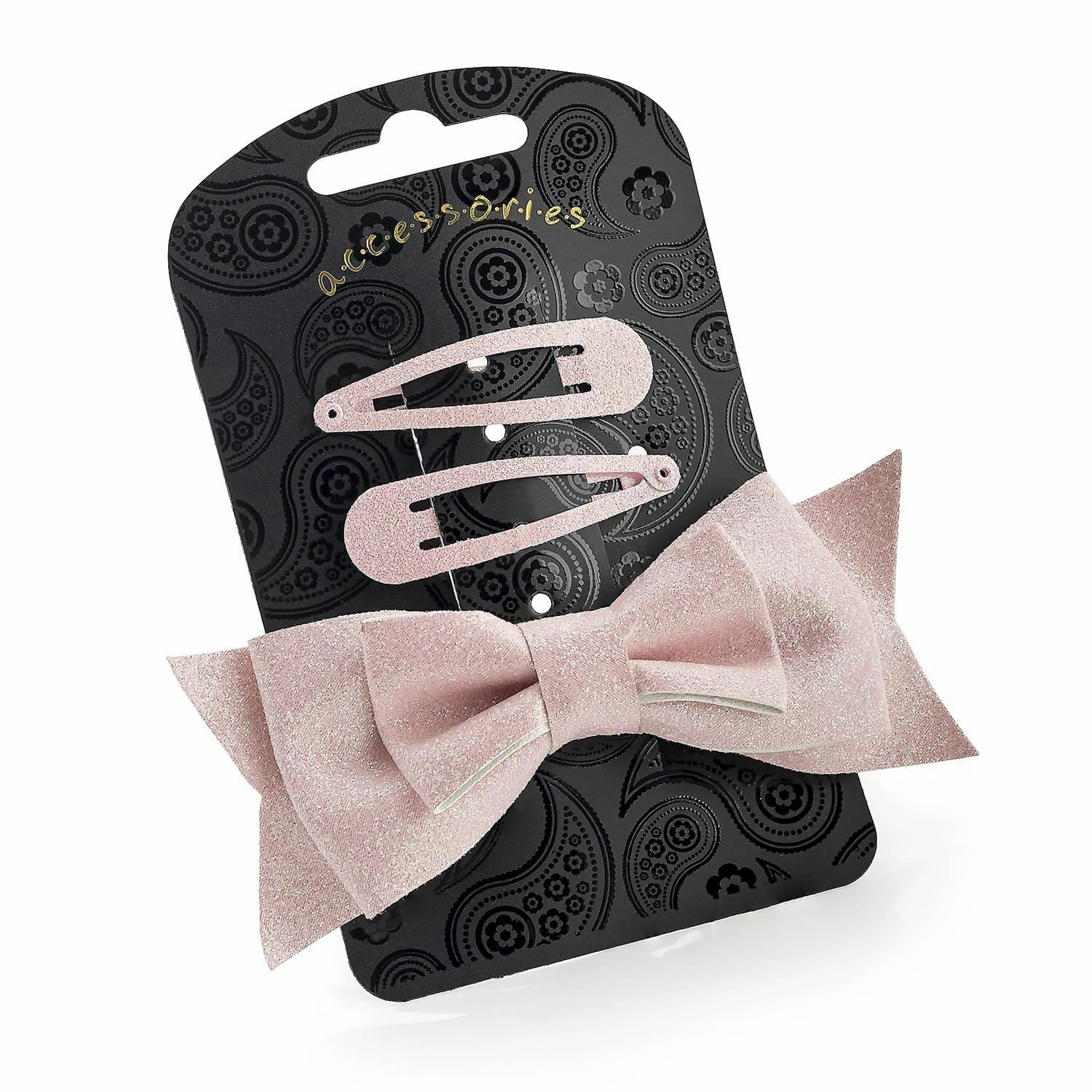 New Ladies 3 Piece Gold and Pink Glitter Bow Clip and Snap Clip Hair Accessories