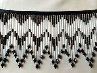 Striking Black And Crystal 5 1/2 Beaded Fringe, Beautiful On Lampshades 471