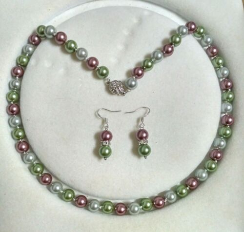 Boucle D/'Oreille Set c04 environ 45.72 cm 8 mm multicolore Akoya Shell collier de perles AAA 18 in