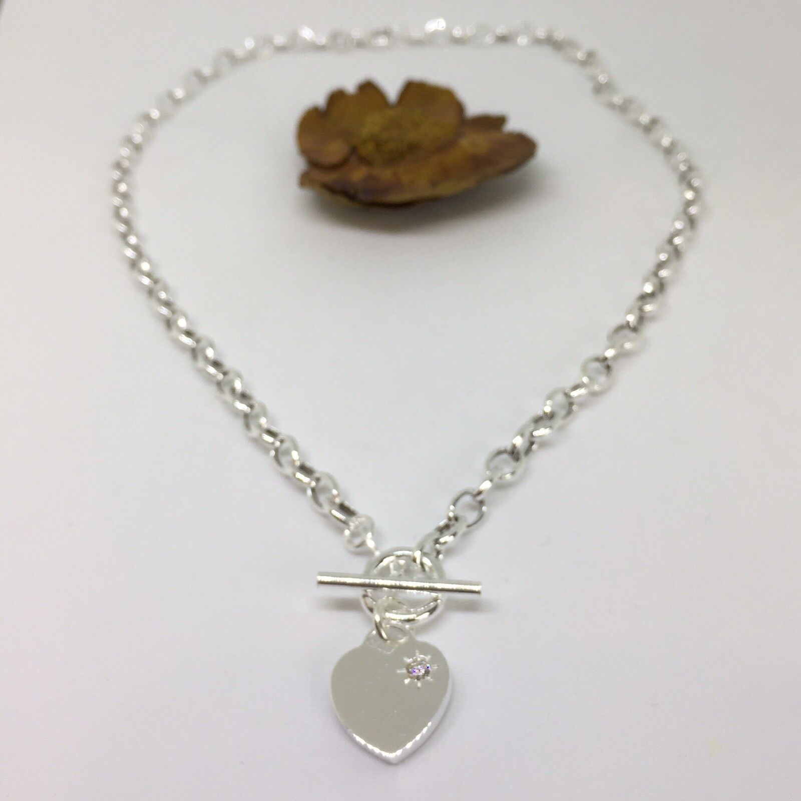 0cf4fda668d Details about Sterling Silver 925 Heart Charm T-Bar Necklace 16 inch with  The Heart 18 Inches
