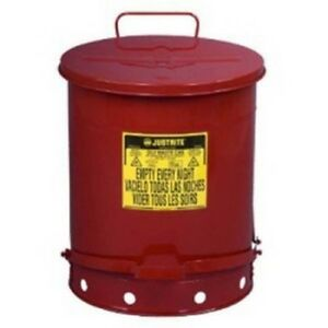 Justrite-09500-OWC-Foot-Red-14-gallon-oily-waste-can-with-lever