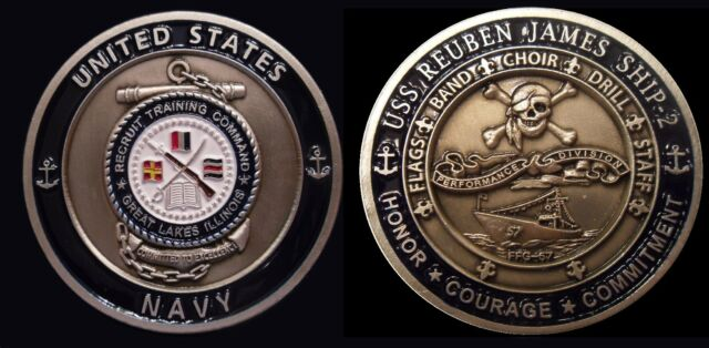 ~ USS Reuben James ~ Ship 2 ~ US Navy Recruit Training Command Challenge Coin ~