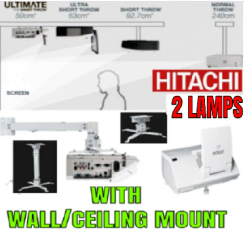ULTRA SHORT THROW HDMI 5v USB HITACHI PROJECTOR WITH 2 NEW LAMPS +, MNT 5/09