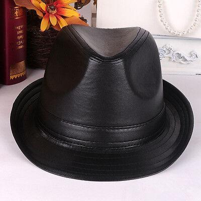 Men Vintage Black Leather Suede Bowler Jazz Cap Casual Short Brim Gentleman Hat