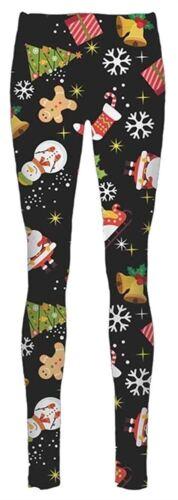 Ladies Candy Stick Gift Bow Santa Reindeer Face Snowflakes Xmas Leggings 16-34