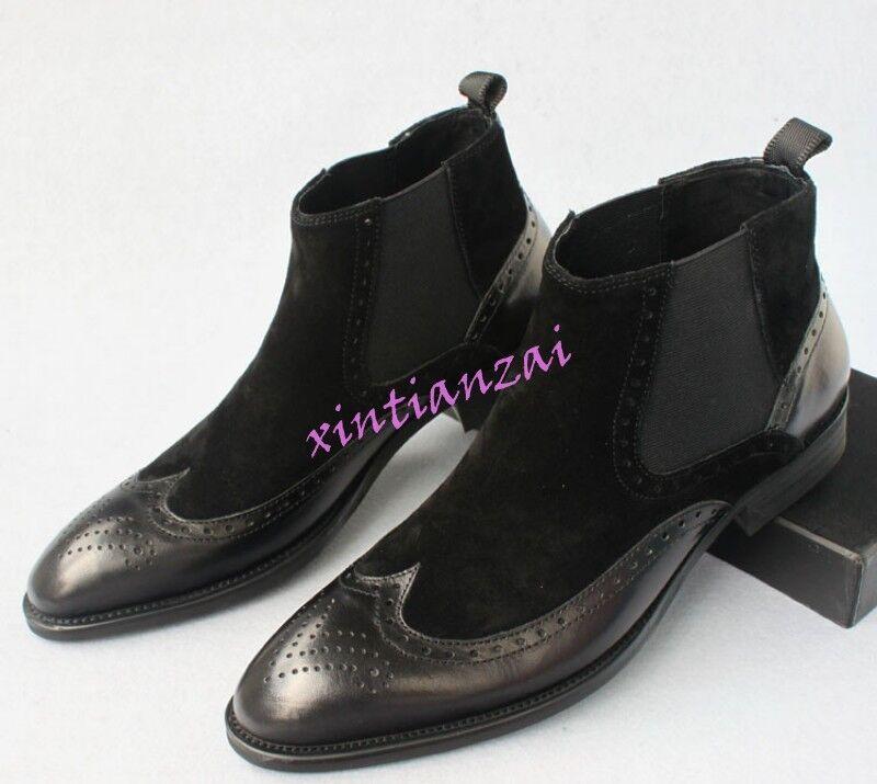 Zapatos De Vestir para Hombre Oxfords Tallado Brogue punta del ala Tirar Zapatos Chelsea Botín