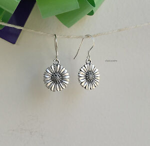 Genuine-S990-silver-Thai-Silver-sunflower-dangle-earrings-L30mm-Dia14mm