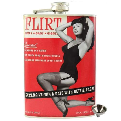 Bettie Page Flirt Stainless Steel Hip Flask Gift Retro Pin Up Rockabilly 50s