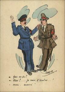 WWI-Anti-Germany-Anti-Hitler-French-Propaganda-Comic-Postcard-1944