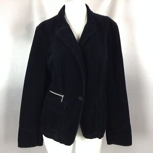 ANN-TAYLOR-LOFT-Women-039-s-Black-Corduroy-Button-Jacket-Size-12-100-Cotton-EUC