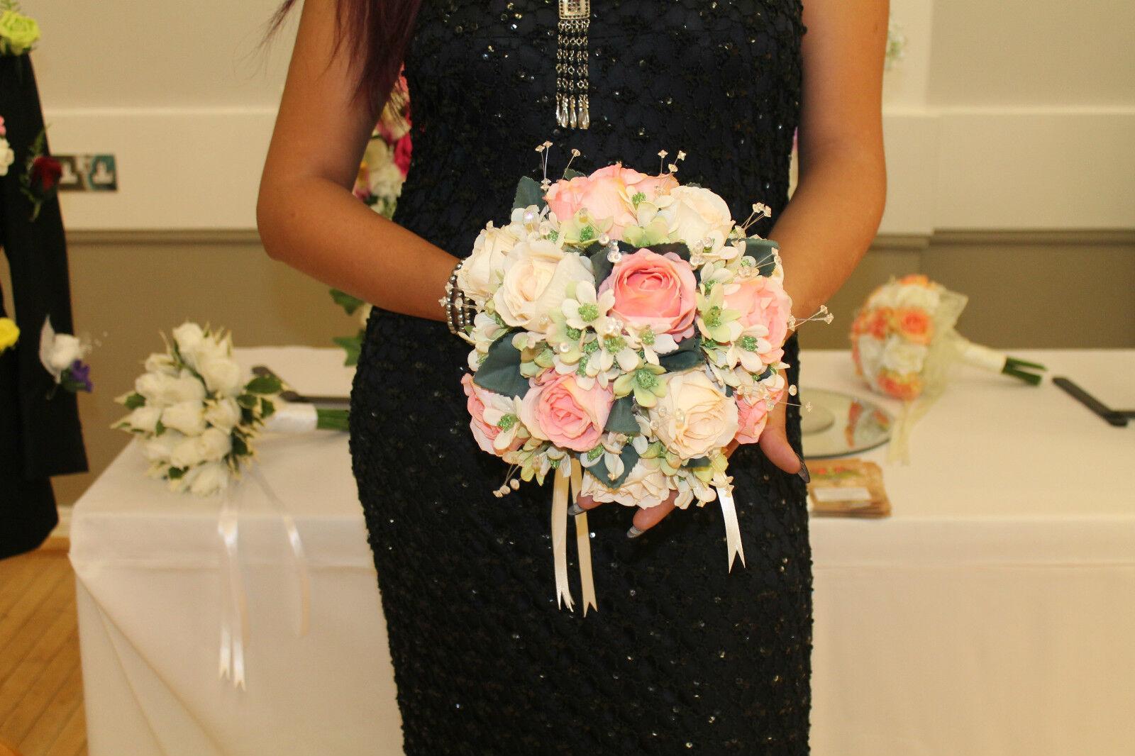 BEAUTIFUL ROUND BRIDAL BOUQUET  IVORY & rose SILK