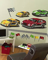 Huge Raceway Race Car Cars Checker Flags Large Wall Murals Decals Sticker Decals