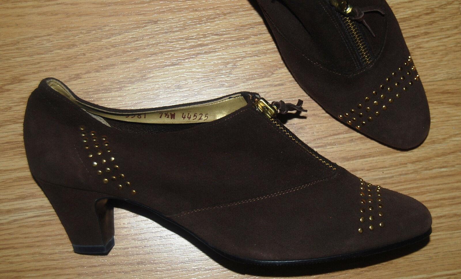 Magdesians brown suede stud zip booties Granny ankle SHOOTIES Victorian 7.5 NEW