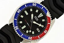 CLASSIC SEIKO 7002 7000 SS MENS DIVE PEPSI RUBBER AUTOMATIC WATCH $1