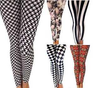 Da Donna,Skinny Leggings Stampati Donna lungo Elasticizzato Pantaloni Anni 80