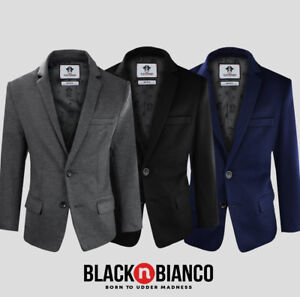 88f33942b867fa Black n Bianco Boys Twill Blazer Jacket. Colors: Navy, Black, Dark ...