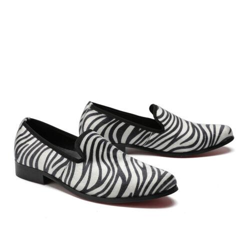slip New lederen Fashion Zomer loafers Comfortabele Zebrastreep schoenen Heren ademende op Uqw8W5fR
