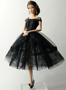 Fashion-Black-Lace-Skirt-Evening-Dress-Outfit-Gown-Clothes-For-11-5in-Doll