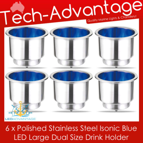 6 X STAINLESS STEEL BLUE LED ILLUMINATED CARAVAN WINE//BOTTLE//CUP//DRINK HOLDERS