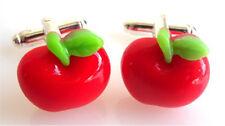 GORGEOUS HANDMADE RED APPLE CUFFLINKS + FREE GIFT BAG + FAST FREE P&P