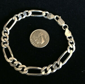 Nice-Sterling-Silver-Italy-Figaro-Bracelet-7-Inch-Unisex-Free-Shipping