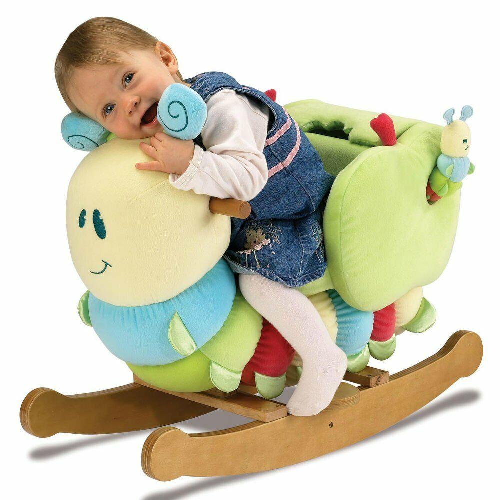 Wooden Caterpillar Rocking Horse Kids Plush Nursery Baby Gift Toddler Ride On