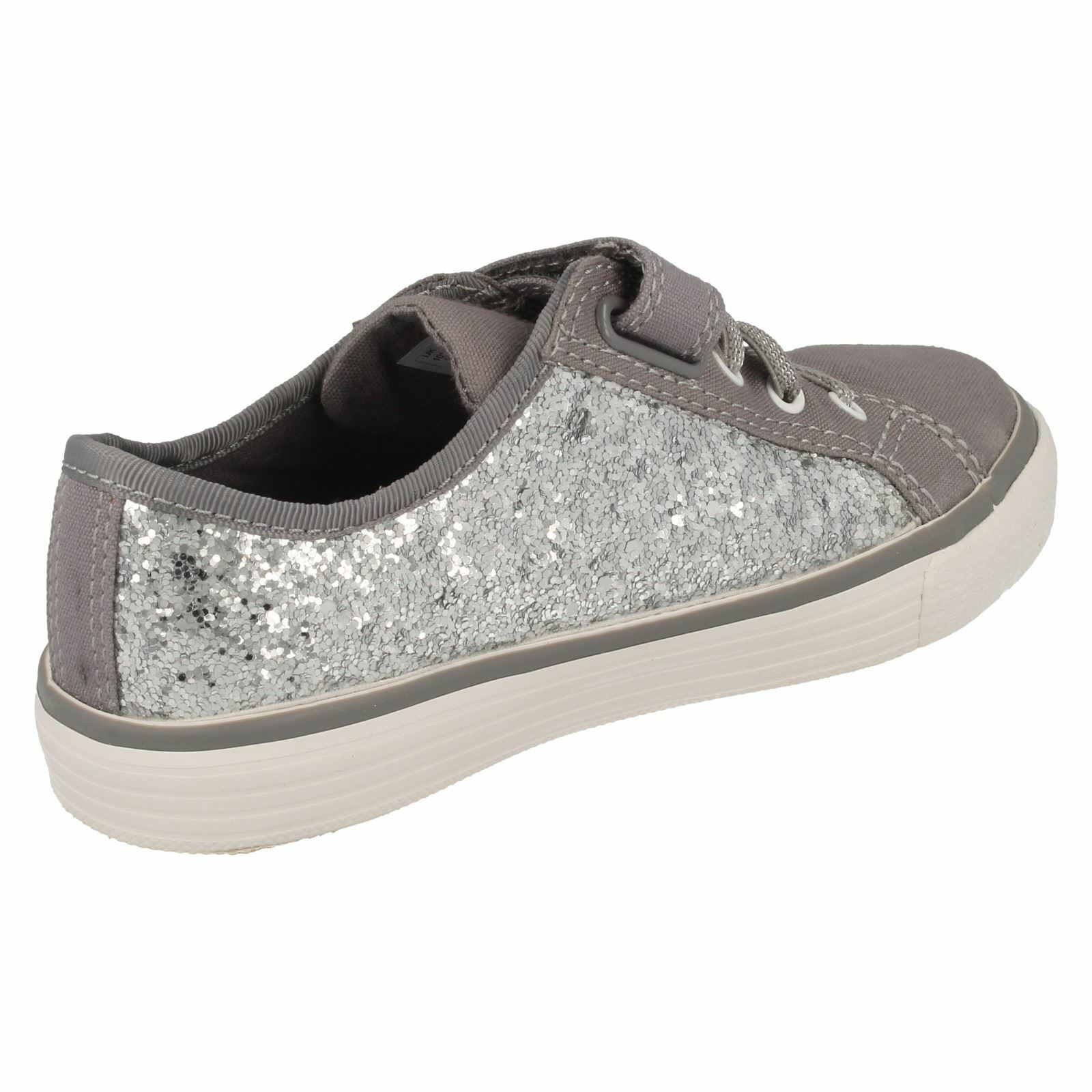 BRILL PRIZE GIRLS CLARKS ELASTIC LACE RIPTAPE CANVAS DOODLES SHOES WITH SPARKLE