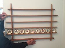 Wooden Rack Holds 50 Franklin Mint State Birds Mini Plates