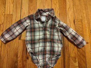EUC Carter's Baby Boy Flannel Button Down Plaid Bodysuit ...