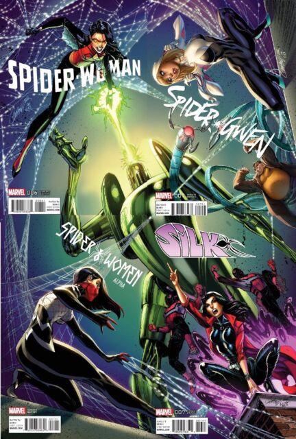 J SCOTT CAMPBELL VARIANT COVER SET! SPIDER-WOMAN 6 SPIDER GWEN 7 SILK ALPHA #1