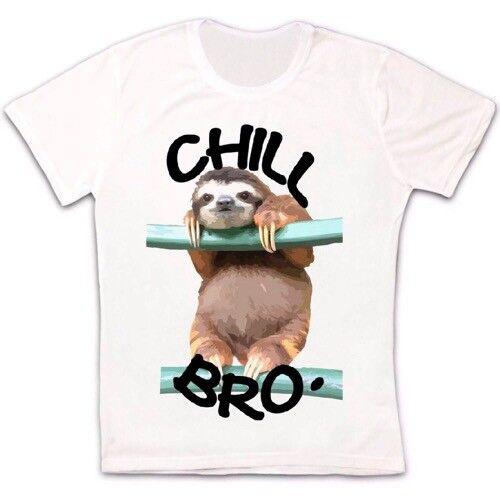 Chill Out Sloth Bro Drôle Animal Cadeau Rétro Vintage Hipster Unisexe T Shirt 2383