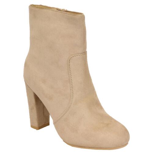 ladies chelsea ankle boots womens suede look block heel fur lined shoes winter