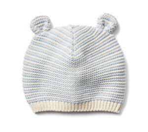 85091f6c769ce Gap Baby Girl   Boy Bear Garter Knit Beanie Hat Sweater Stripe Blue ...