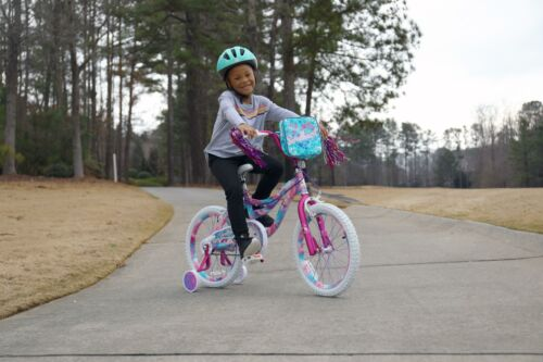 """3/'8/"""" /& Up 18/"""" Kids Bike Girls 18-inch Wheels Bicycle with Training Wheels Pouch"""