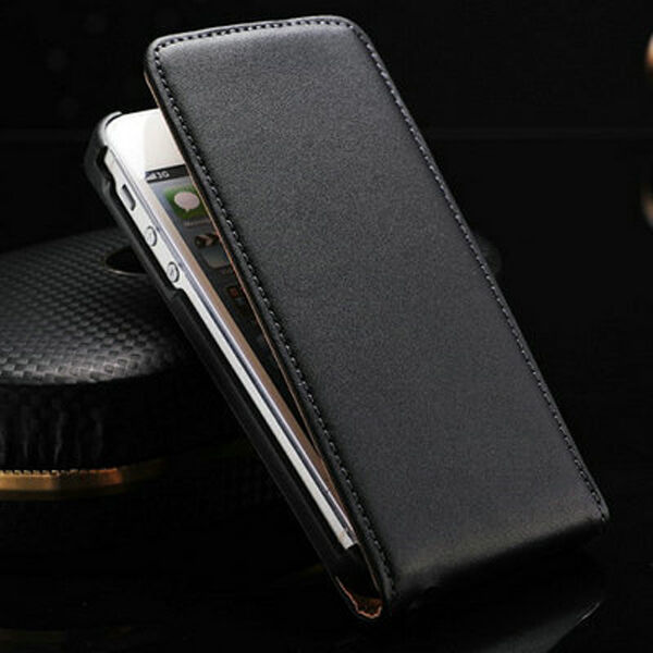 Ultra Slim Luxury Genuine Real Leather Top Flip Case Cover Holder