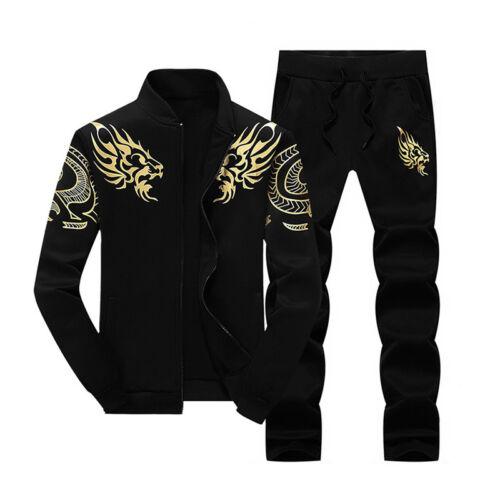 New 2Pcs Men Sports Sweat Suit Set Tracksuit Jacket Coat And Long Pants Casual