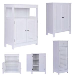 White-Floor-Cabinet-Cupboard-with-2-Doors-Bathroom-Kitchen-Storage-Furniture