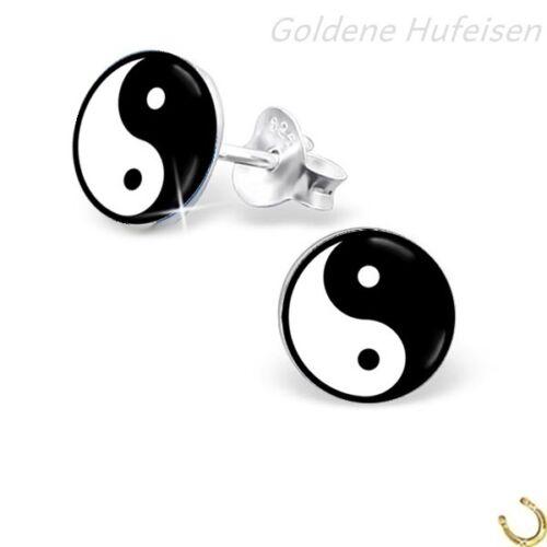 Charm Kette Yin Yang Ohrstecker 925 Echt Silber Brisur Ohrringe Anhänger