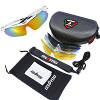 Polarized Cycling Glasses Uv400 Riding Outdoor Sunglasses Goggles 5 Lens White