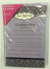 Bachelorette Party Invitations & Envelopes Girls' Night Out Purple 8ct (NEW)
