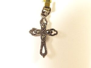 Antique-Sterling-Silver-Marcasite-Victorian-Cross-Pendant-Signed-CW-1