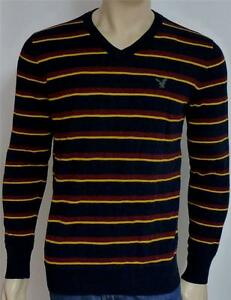 American Eagle Outfitters AEO Mens Gray Stripe V-Neck Sweater New NWT