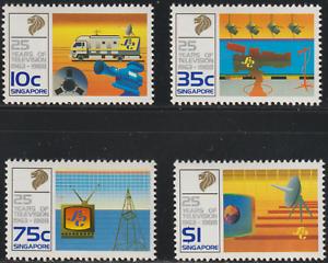 (134)SINGAPORE 1988 25 YEARS OF TELEVISION SET 4V MNH.