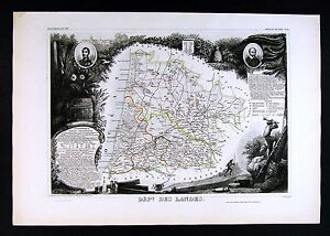 1852 Levasseur France Map - Department des Landes Mont de Marsan Dax St. Severs
